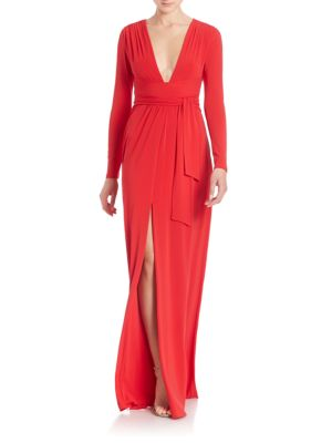 Jersey Tie-Front Gown
