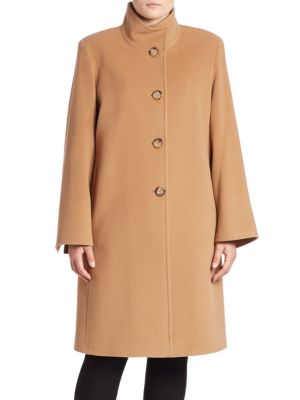 Wool-Blend Single-Breasted Coat plus size,  plus size fashion plus size appare