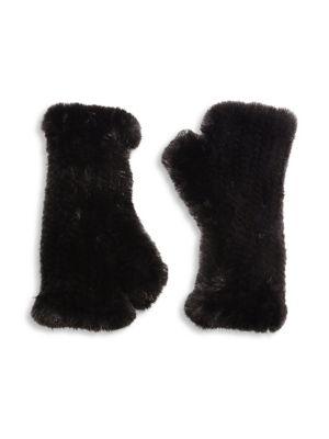 Mink Fur Fingerless Gloves