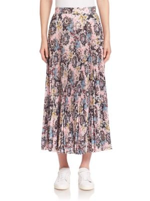 Williams Silk Pleated Midi Skirt