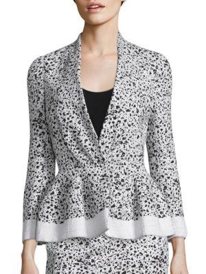 Splatter-Print Tweed Jacket by Carolina Herrera
