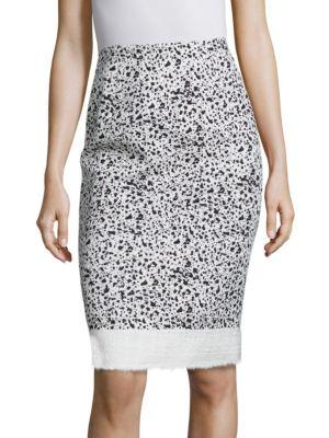 Spatter-Print Tweed Pencil Skirt by Carolina Herrera