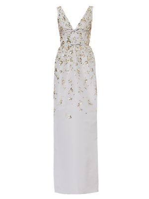 Embroidered Faille Gown