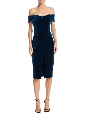Velvet & Lace Off-The-Shoulder Sheath Dress