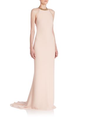 Backless Chain-Detail Gown
