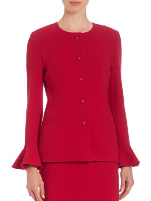 Bell-Sleeve Crepe Jacket