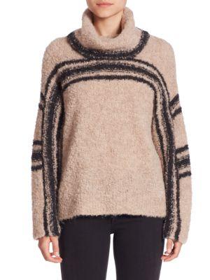 Saige Fuzzy Striped Turtleneck Sweater