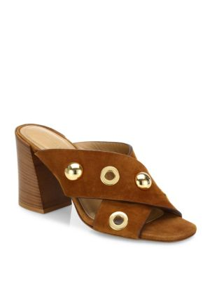 Brianna Studded Suede Crisscross Mules