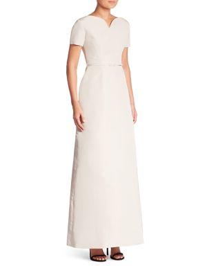 Vintage Boatneck V Silk Gown