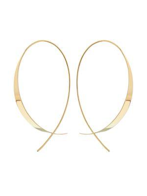 Gloss Updside Down 14K Yellow Gold Hoop Earrings