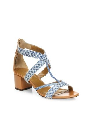 Tyra Denim & Leather Block Heel Sandals