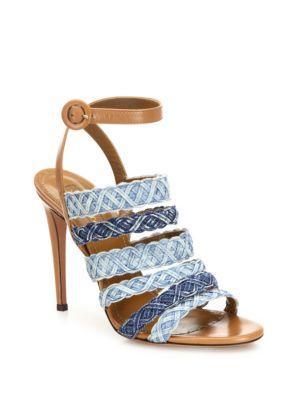Tyra Strappy Denim & Leather Ankle-Strap Sandals