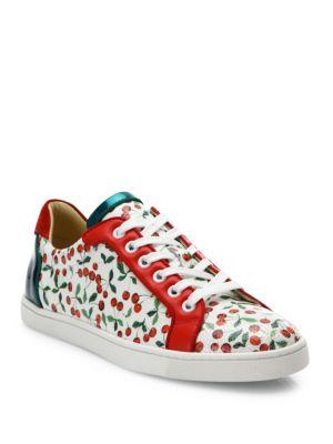 christian louboutin female seava cherry leather sneakers