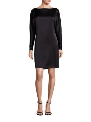 Satin Boatneck Shift Dress