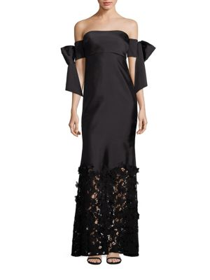 Nancy Silk Organza Off-The-Shoulder Gown