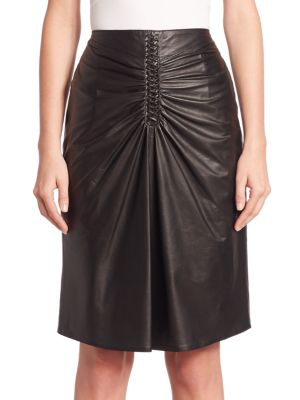 Rourke Ruched Leather Skirt