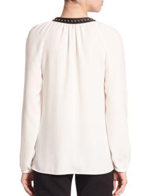 ALTUZARRA Studded Lace-Up Peasant Blouse, Natural White