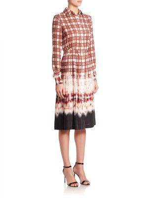 Maria Pleated Plaid & Tie-Dye Shirtdress