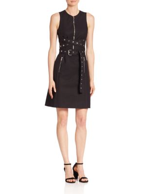 Grommeted Wrap Belt Shift Dress