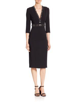 Grommeted V-Neck Sheath Dress