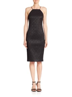 Chain-Strap Metallic Jacquard Sheath Dress