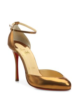 christian louboutin female dollyla metallic patent leather dorsay pumps