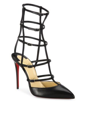 Kadreyana Leather Cage Point-Toe Pumps