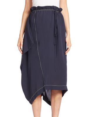 Paperbag Waist Asymmetrical Silk Skirt