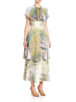 Plisse-Collar Tiered Landscape Dress