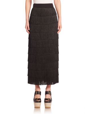 Silk Fringe Maxi Skirt