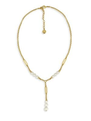 Modern 6-8MM Organic Pearl Lariat Necklace