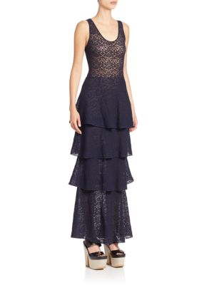 Lace Racerback Tiered Gown