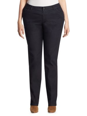 Italian Bi-Stretch Five-Pocket Straight-Leg Jeans plus size,  plus size fashion plus size appare