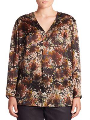 Libby Silk Twilight Terrace Blouse plus size,  plus size fashion plus size appare