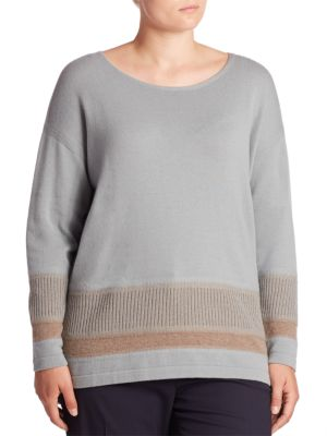 Cozy Wool Flannel Two-Tone Ribbed Hem Sweater plus size,  plus size fashion plus size appare