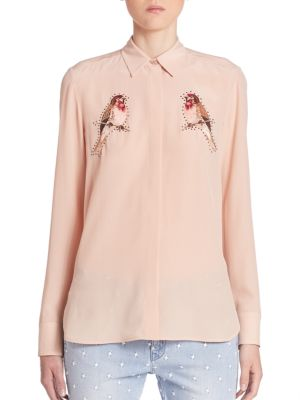 Bird Embroidered Silk Crepe Blouse