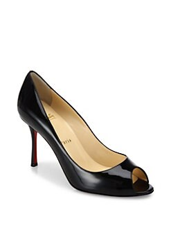 Christian Louboutin - Yootish 85 Patent Leather Peep Toe Pumps