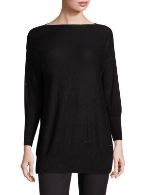 Sequin-Embellished Boatneck Sweater