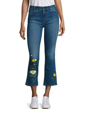 Skinny Kick Flare Medium Wash Cropped Jeans