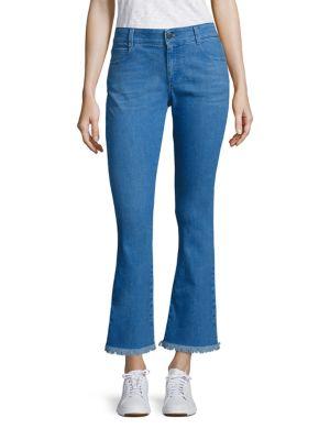 Skinny Kick Flare Raw-Edge Jeans