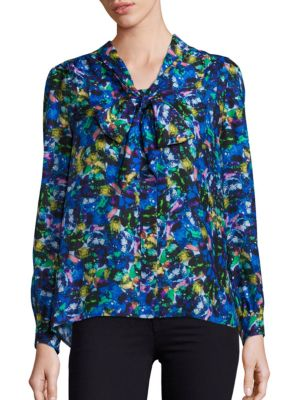 Silk Jewel-Print Tie-Neck Blouse by MILLY