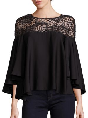 Angie Geometric Sequin Silk Blend Top