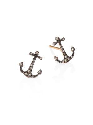 Love Diamonds & 18K Rose Gold Anchor Stud Earrings
