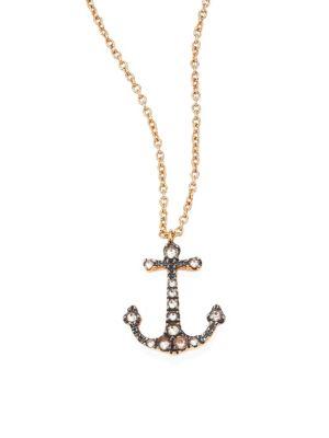 Love Diamonds & 18K Rose Gold Anchor Pendant Necklace