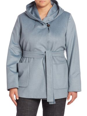 Oporto Virgin Wool Hooded Coat plus size,  plus size fashion plus size appare