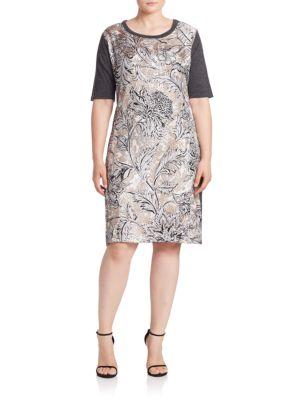 Gennaio Silk-Front Shift Dress plus size,  plus size fashion plus size appare