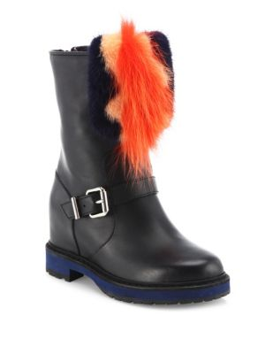 Caroline Leather & Fur Moto Boots