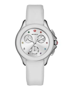 Cape Chronograph Multicolor Topaz, Stainless Steel & Silicone Strap Watch/White