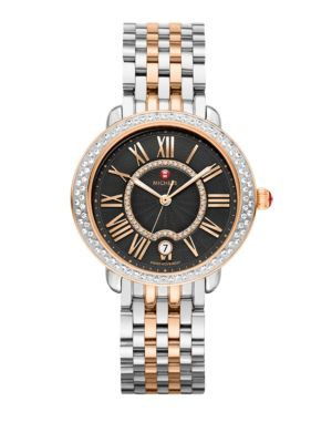 Serein 16 Diamond, 18K Rose Gold & Stainless Steel Bracelet Watch