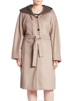 Terna Alpaca & Virgin Wool Hooded Coat plus size,  plus size fashion plus size appare
